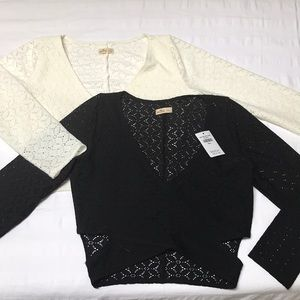 (2) Black and Ivory Lacy Cut-Out Crop Tops